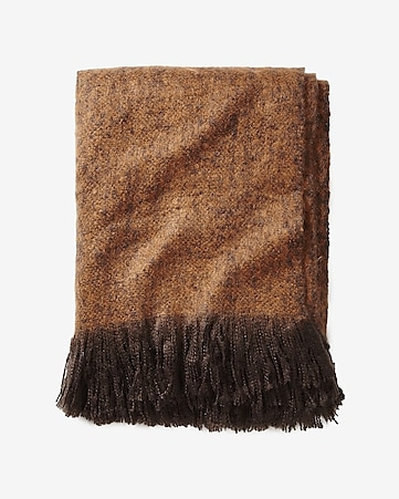 copper oversized fuzzy nep knit blanket scarf
