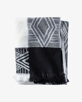 EXPRESS Women's Scarves Diamond Border Blanket Scarf Black