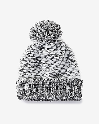 Express Womens Extra Thick Marled Knit Pom Beanie 1070007C