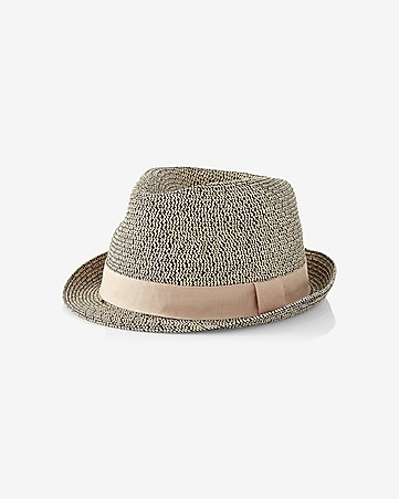 tri color straw weave fedora