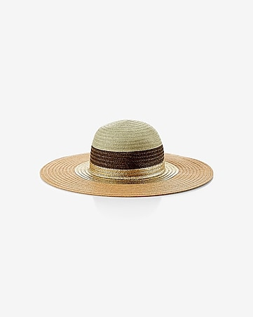 color blocked straw floppy hat