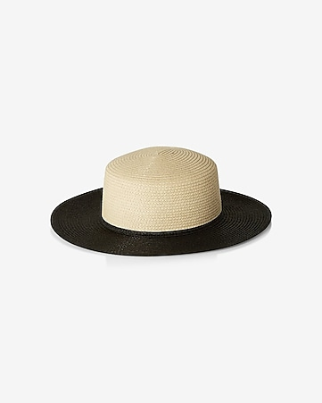 color blocked straw boater hat