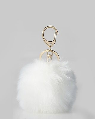 Express Womens White Faux Fur Pom Keychain And Bag Charm
