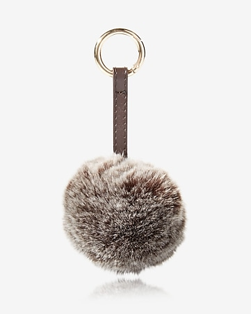 ok originals brushed mocha faux fur pom keychain and bag charm