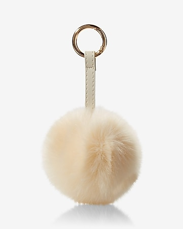 ok originals ivory faux fur pom keychain and bag charm