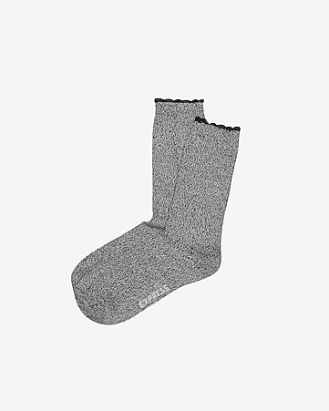super soft scalloped crew socks