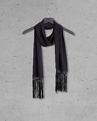 EXPRESS Women's Scarves Black Express Edition Silk Fringed Skinny Scarf