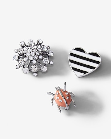 heart and bug pins set of 3
