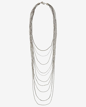 mixed chain 10 row nested necklace
