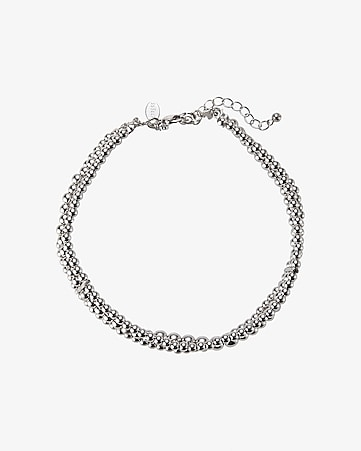 metal beaded choker necklace