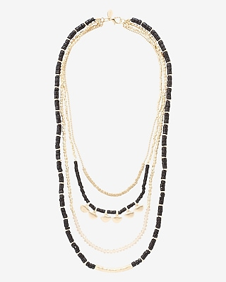 EXPRESS Women's Jewelry Tiered Black And Gold Metal Bead Necklace