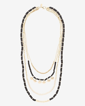 tiered black and gold metal bead necklace
