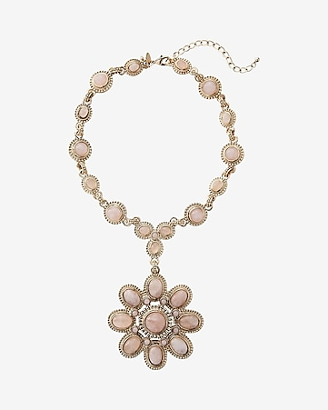 cabochon chain and flower pendant necklace