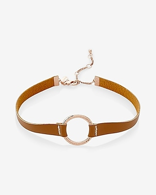Express Womens Express Womens Hammered Circle And Leather Choker Necklace Neutral