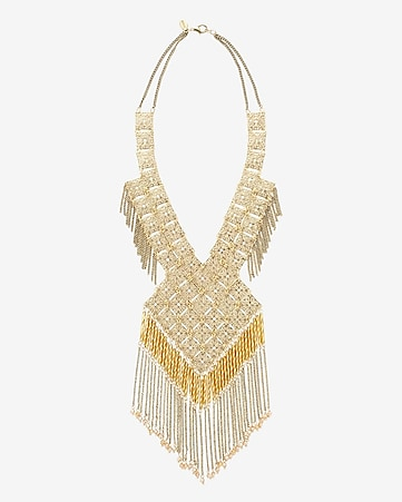 diamond filigree and fringe bib necklace
