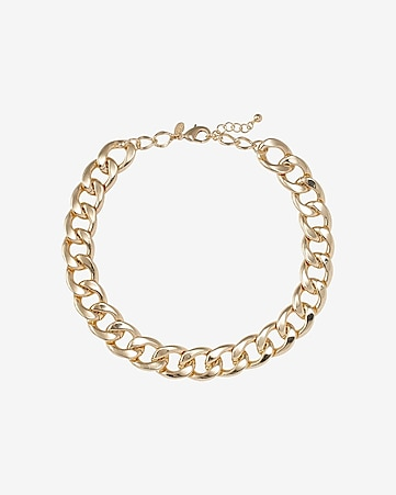 flat polished curb chain necklace