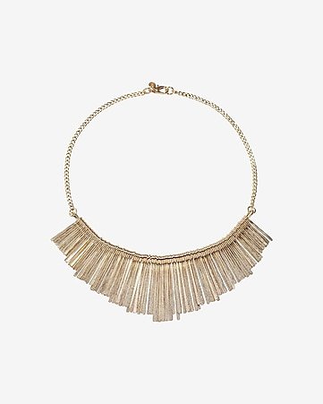 metal stick fringe necklace