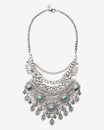 turquoise and chain bib necklace