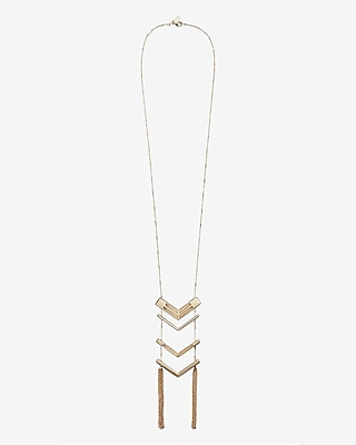 Express Womens Polished Chevron Ladder Necklace