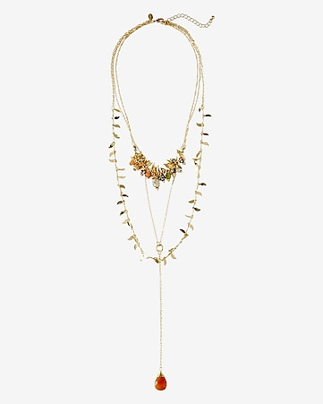 nested bead and leaf charm and lariat necklace