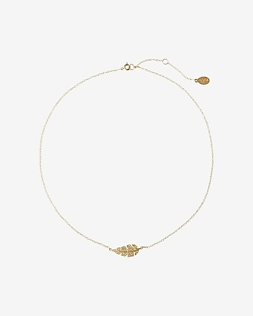 delicate pave leaf necklace