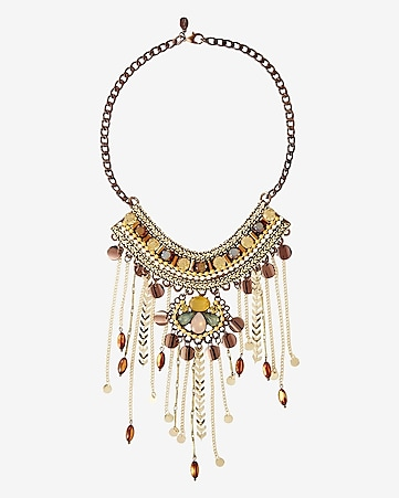 rhinestone and beaded chain fringe necklace