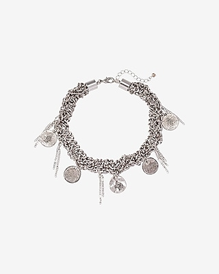 Express Womens Braided Chain And Coin Choker Necklace Silver