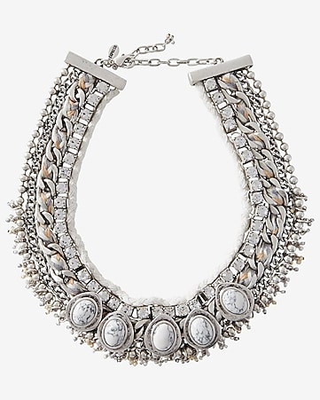 rhinestone chain howlite collar necklace