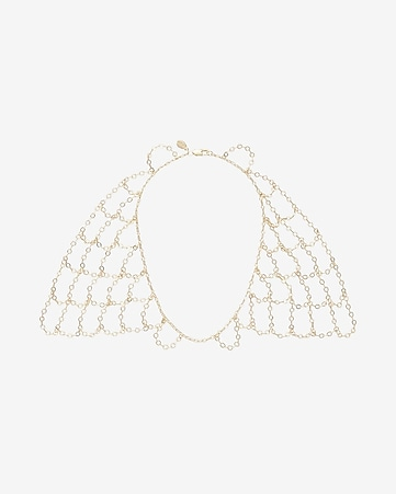 double sided  netted metal bib necklace