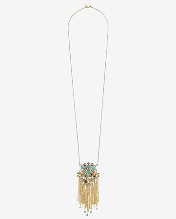 stone encrusted fringe pendant necklace