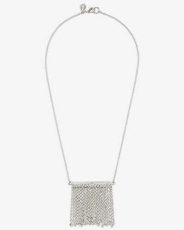 metal bar chain fringe necklace