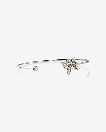 butterfly tip open bangle bracelet