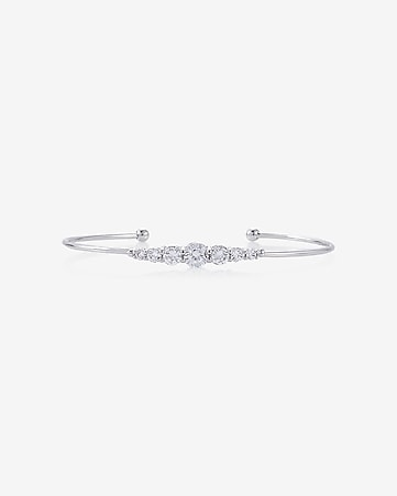 graduated cubic zirconia bangle bracelet