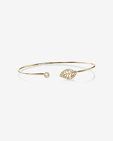 leaf and cubic zirconia open bangle bracelet