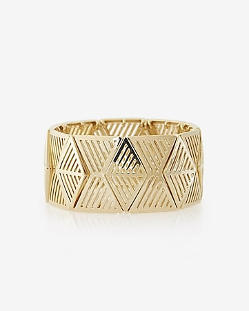 cut-out geometric metal stretch bracelet