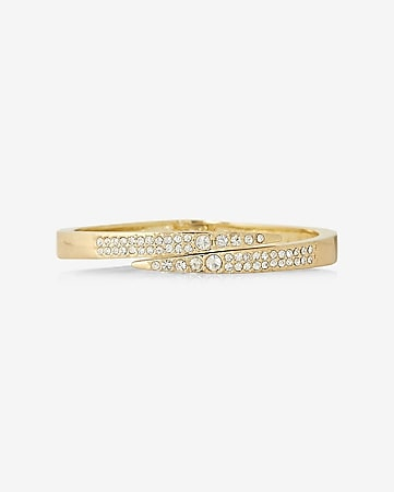 crossover pave hinge bangle