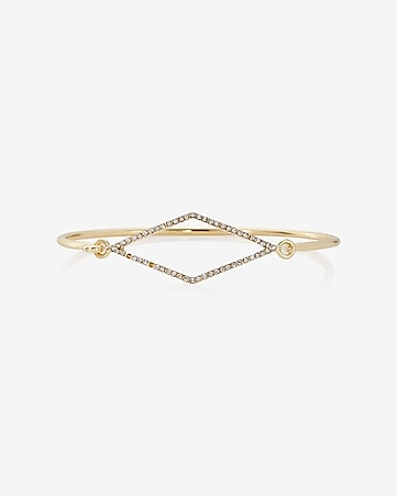 pave diamond hook bangle bracelet