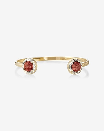 stone and pave open bangle bracelet