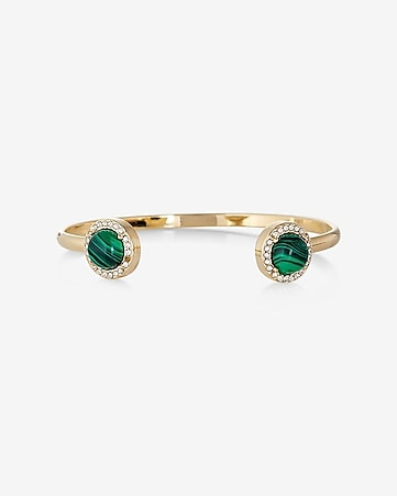 emerald stone and pave open bangle bracelet