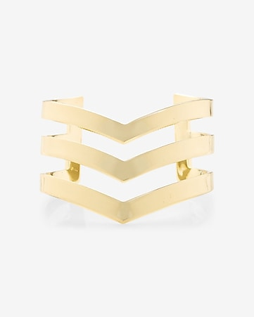 polished chevron cutout cuff bracelet