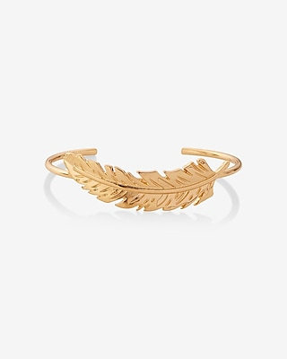 EXPRESS Women's Jewelry Curved Feather Mini Cuff Bracelet Gold