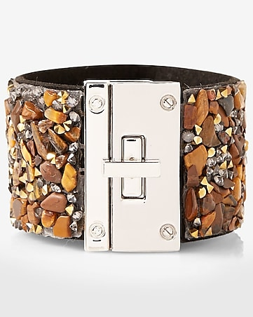 gem and stone encrusted turnlock cuff bracelet