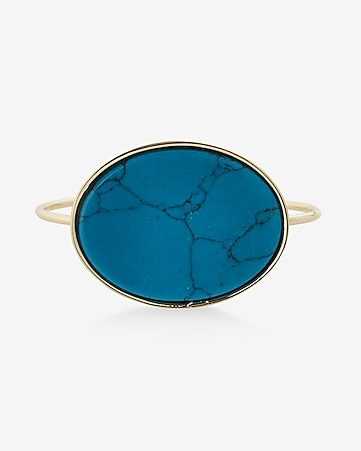 oval turquoise stone bangle bracelet