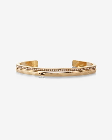 hammered and pave embellished cuff bracelet