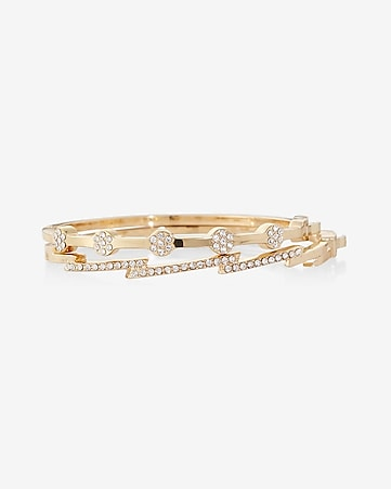 pave embellished hinge bangle bracelet duo