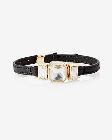 rhinestone and leather bracelet