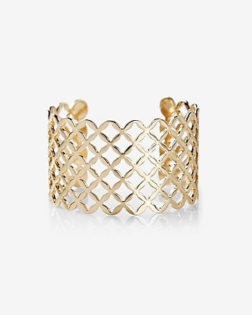 lattice pattern cut-out cuff bracelet