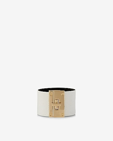 faux pebbled leather turnlock bracelet