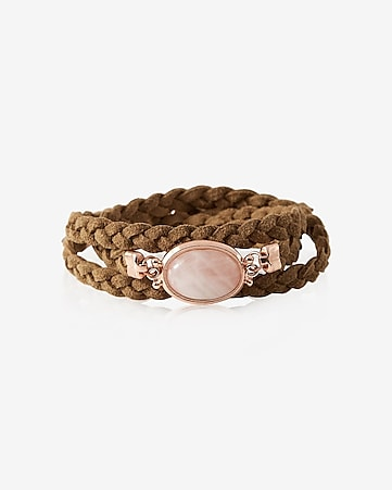 braided double wrap rose stone bracelet