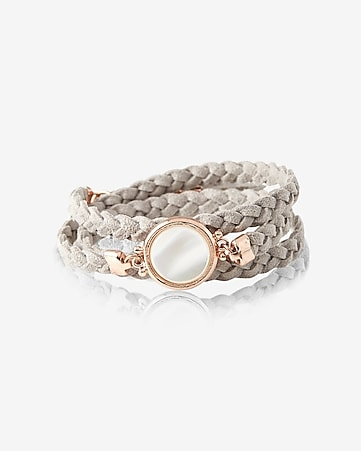 braided double wrap white stone bracelet